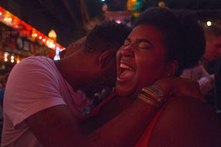 Dulcé Sloan, WC '05, gets a hug at The Vortex after performing a show at The Laughing Skull Lounge on Friday, April 29, 2016, in Atlanta, Ga. Sloan, an Atlanta native, moved to Los Angeles to advance her career as a stand up comedian. (AJ Reynolds/Brenau University)