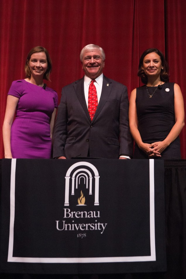 Kristen Soltis Anderson, a Republican pollster and strategist, , Brenau President Ed Schrader and Maria Teresa Kumar, Democratic commentator and CEO of Voto Latino, poses for a photo after Beyond the Talking Points: What Election 2016 Really Means to Women. The discussion was a part of the Douglas and Kay Ivester Programming Series at the university. (AJ Reynolds/Brenau University)Beyond the Talking Points: What Election 2016 Really Means to Women. The discussion was a part of the Douglas and Kay Ivester Programming Series at the university. (AJ Reynolds/Brenau University)