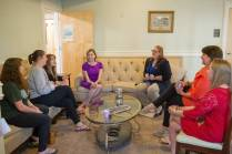 Kristen Soltis Anderson, a Republican pollster and strategist, speaks to members of Alpha Chi Omega inside the sorority house before speaking at Beyond the Talking Points: What Election 2016 Really Means to Women. The discussion was a part of the Douglas and Kay Ivester Programming Series at the university. Anderson was a member of Alpha Chi Omega at the University of Florida. (AJ Reynolds/Brenau University)