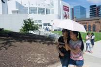 Crystal Wang, right and Daisy Qiu walk from the High Museum of Art back to the Brenau bus. (AJ Reynolds/Brenau University)