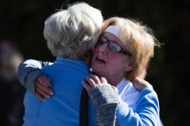 Nita Tammarine hugs Marsha Dempsey during the Dempsey Dash 5K, a race celebrating the memory of Brenau's longtime Executive Vice President and CFO Wayne Dempsey, on Saturday, March 11, 2017. (AJ Reynolds/Brenau University)