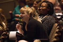 Attendees react to a speech by Patricia Wolfe during the 4th Annual Women's Leadership Colloquium on Friday, March 17, 2017. (AJ Reynolds/Brenau University)