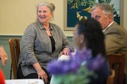 Julie Kirksey, WC '68, smiles while introducing herself to the gathered alumnae during the Back to Campus Luncheon. (AJ Reynolds/Brenau University)