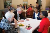 Terry Dillard, WC '61, and her husband talk with Jaanai Bennett and Amari Banks during the Back to Campus Luncheon. (AJ Reynolds/Brenau University)