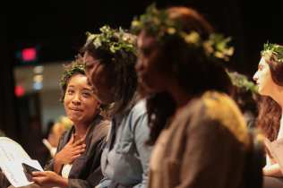From left to right Nia Odiase, Camille Anderson, and Shaadrian Vernon get emotional as they receive white carnations from the sophomore class during the 2017 Alumnae Reunion Weekend at Brenau University, Saturday, April 08, 2017. (Photo/ John Roark for Brenau University)