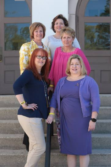 Class of 1980's Zeta Tau Alpha alums Terri Fain, Cynthia Fuller Jackson, Dana Boyd Barr, Lisa Bryant, and Kristen Repetto Leavell during the 2017 Alumnae Reunion Weekend at Brenau University, Saturday, April 08, 2017. (Photo/ John Roark for Brenau University)