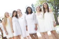 Rising seniors Sara Jane Bowers, Maddilyn Peck, Rebecca Jarrett, Quonna Holden, Hannah Vigil-Shuck, and Lauren Sanders before the Class Day ceremony during the 2017 Alumnae Reunion Weekend at Brenau University, Saturday, April 08, 2017. (Photo/ John Roark for Brenau University)