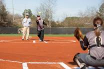 Brenau President Ed Schrader throws out the ceremonial first pitch before the opening double header at the Pacolet Milliken Field at the Ernest Ledford Grindle Athletics Complex between the Brenau Golden Tigers and Talladega College. (AJ Reynolds/Brenau University)