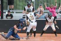 Brenau infielder Mason Garland, a junior from Hoschton, Ga., makes it home safely as Brenau women's softball takes on College of Coastal Georgia in Southern States Athletic Conference (SSAC) at Ernest Ledford Grindle Athletic Park, Friday, April 21, 2017. Brenau defeated Coastal 3-2 sealing their undefeated season. (Photo/ John Roark, for Brenau University)