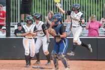 Brenau players celebrate as they take the lead against College of Coastal Georgia in Southern States Athletic Conference (SSAC) at Ernest Ledford Grindle Athletic Park, Friday, April 21, 2017. Brenau defeated Coastal 3-2 sealing their undefeated season. (Photo/ John Roark, for Brenau University)