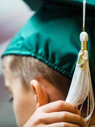 A 2017 tassel hangs off a students cap during the commencement ceremony for the RISE Program on Friday, July 14, 2017 at Fair Street School. (AJ Reynolds/Brenau University)