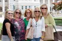 Cora Cooper, Kylie Ellington, Melissa Black Dunlap, WC '08, Emma Light and Bianca Orr pose for a photo during Alumnae Reunion Weekend on Friday, April 13, 2018. (AJ Reynolds/Brenau University)