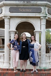 Didi Cassell, Alexandra Brock, and Jessi Shrout pose for a photo during Alumnae Reunion Weekend on Friday, April 13, 2018. (AJ Reynolds/Brenau University)