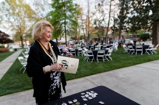 Carole Ann Carter Daniel, WC '68, reacts after being pinned for her 50th reunion. (AJ Reynolds/Brenau University)