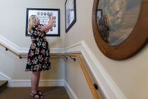Logan Life, WC '09, takes a photo of her Alpha Delta Pi class composite inside the sorority house. (AJ Reynolds/Brenau University)