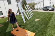 Megan Reddick outside the Alpha Delta Pi house (AJ Reynolds/Brenau University)