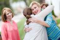 Daine Railey Curington gets a hug as she arrives at a Chi Omega reunion (AJ Reynolds/Brenau University)