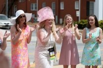 Susan Papesh sing sons with other members of the Phi Mu sorority during the sorority open house of the Alumnae Reunion Weekend & May Day at Brenau University Saturday, April 14, 2018, in Gainesville, Ga. Photo by Jason Getz / Brenau University