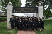 ANU-Brenau University students pose with ANU and Brenau representatives during the graduate and undergraduate commencement Saturday May 5, 2018 in Gainesville, Ga. (Jason Getz for Brenau University)
