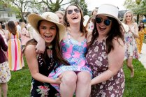 Lauren LaRicci, center, is carried to the Grace Hooten Moore Memorial Fountain by classmates to celebrate her engagement. (AJ Reynolds/Brenau University)