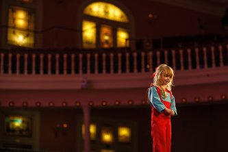 Gabby Grimes showcases some children's wear in the Collections 2018 fashion show. (AJ Reynolds/Brenau University)