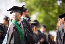 Waad Almughirah, MAT, stands during the 2018 Spring Commencement Ceremony on Saturday, May 5, on Brenau University's historic Gainesville campus. (Nick Bowman for Brenau University)