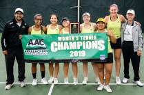 Brenau tennis players and coaches pose for a photo after winning the final round of the Appalachian Athletics Conference Women's Tennis Championship against SCAD Atlanta on Saturday, April 20, 2019, in Chattanooga, Tenn. (AJ Reynolds/Brenau University)