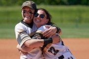 Brenau's Lexi Cash and Kaleigh Sullivan are all smiles after winning the Appalachian Athletic Conference Softball Championship 6-5 over Milligan College at Brickyard Park on April 27, 2019, in Kingsport, Tenn. (Todd Brase/For Brenau University)
