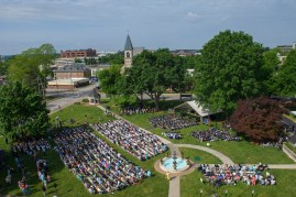 Commencement ceremony as seen from the roof of Pearce Auditorium