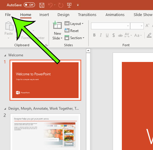 open the powerpoint file menu