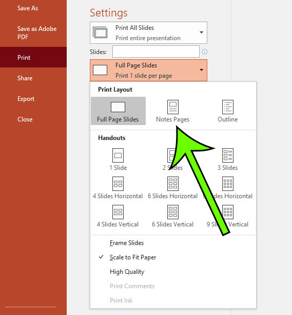 how to print with notes in powerpoint