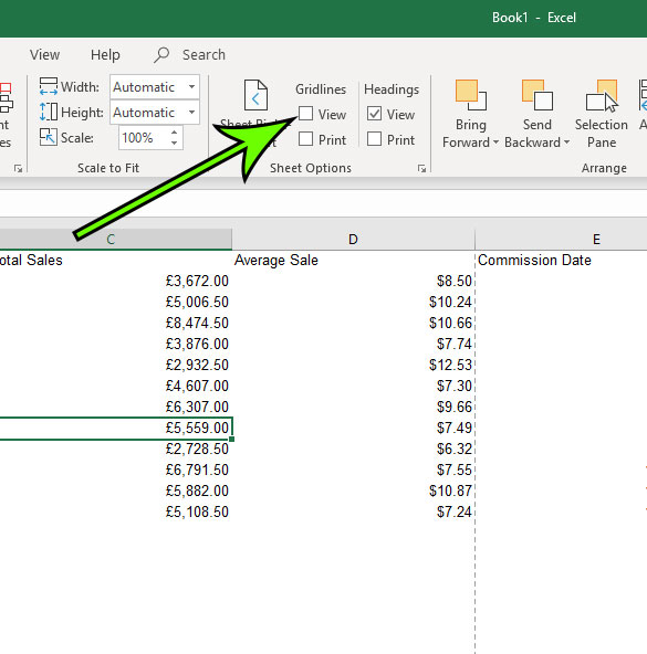 how to hide the gridlines in excel