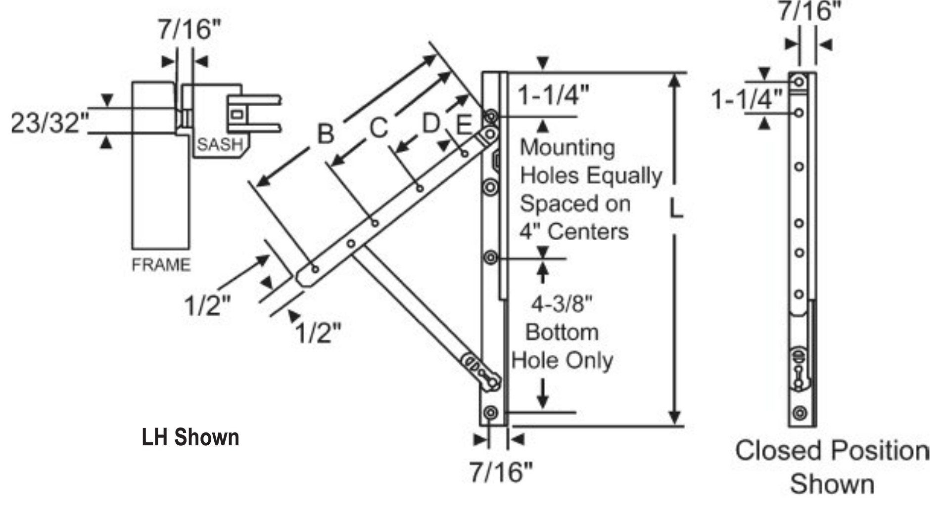 Truth Awning Hinges Concealed 28 18 14