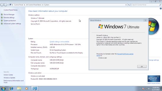 Windows 7 Ultimate activé
