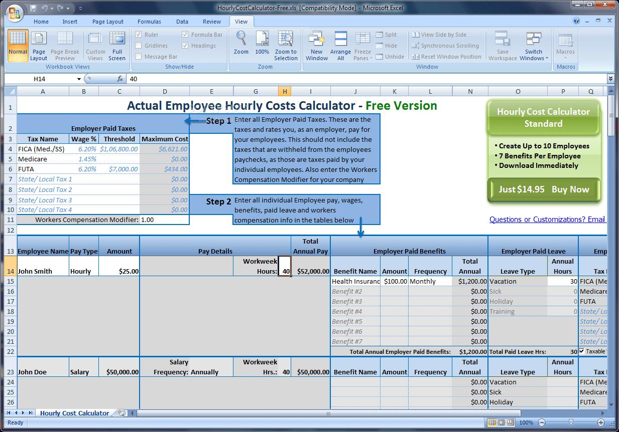 Download Actual Employee Hourly Cost Calculator 2 0