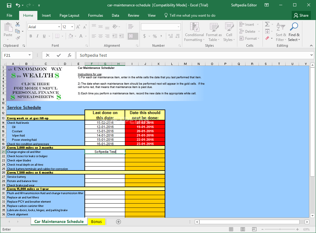 Download Car Maintenance Schedule Spreadsheet