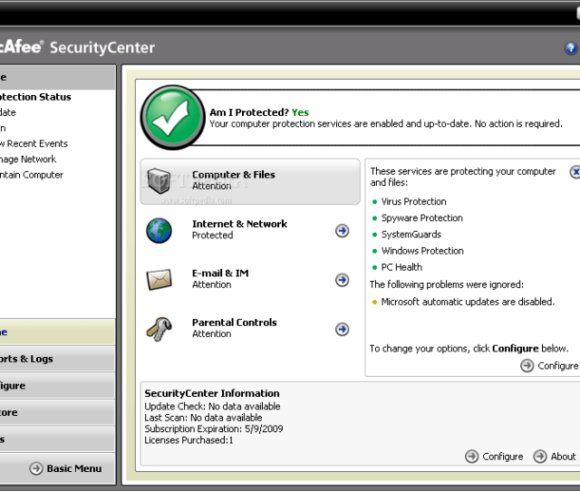 Mcafee Virusscan This Is The Main Window Of Mcafee Virusscan Where You Can View The