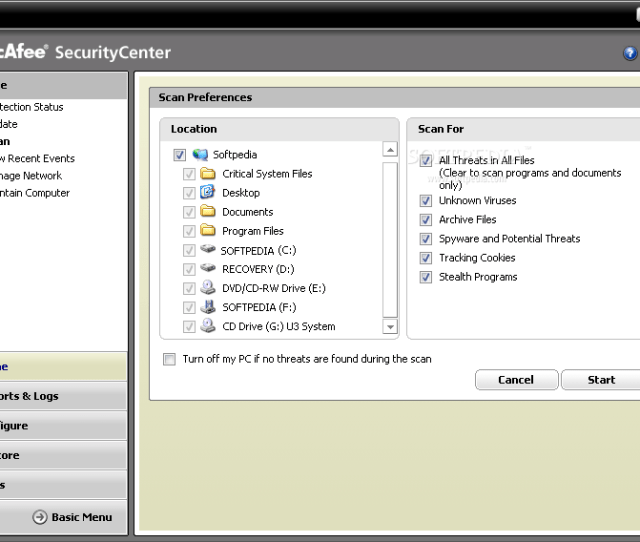 Scans Depending Mcafee Virusscan Mcafee Virusscan Will Allow You To Select The Source Location And The Type