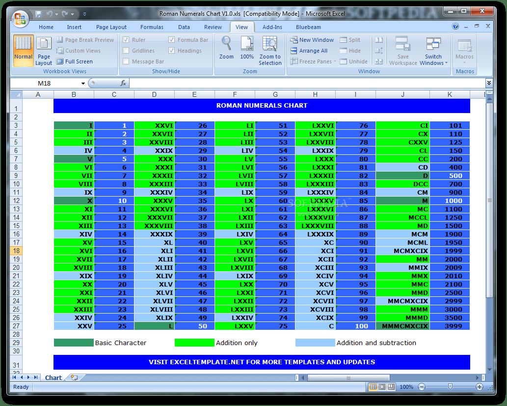 Download Roman Numerals Chart 1 0