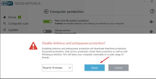 disable anti virus