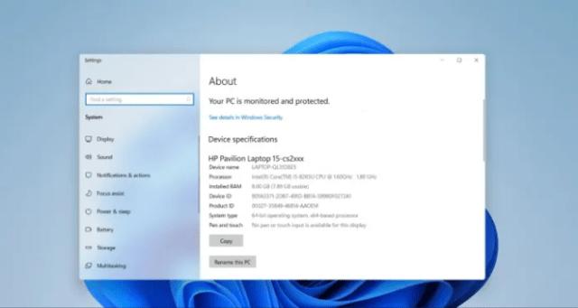 Check PC Specs Windows 11 via System Properties