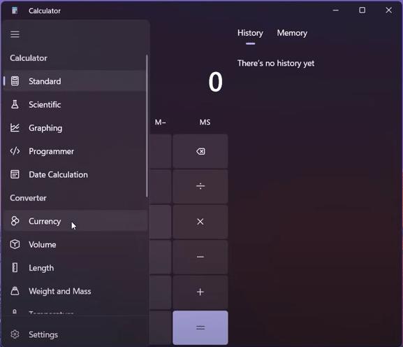 Windows 11 calculator app