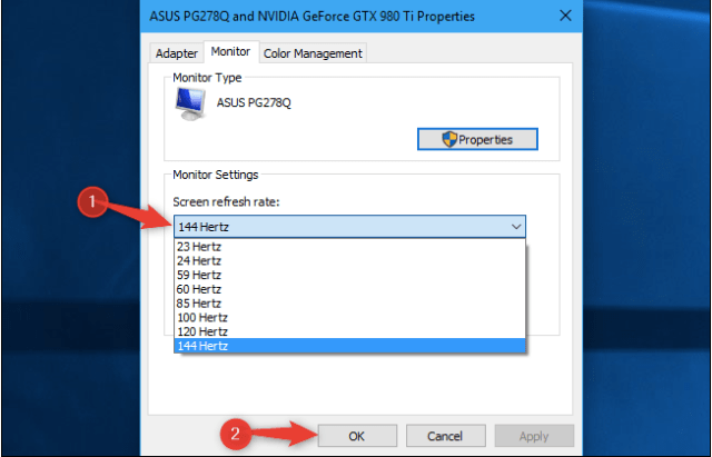change monitor refresh rate in Windows 10