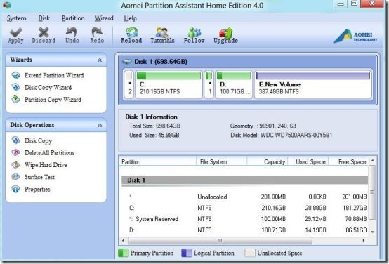 Aomei Partition manager