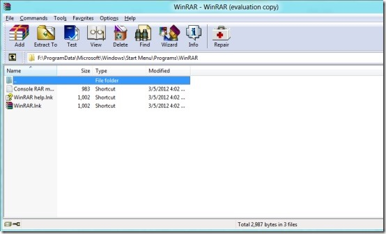 WinRAR in Windows8