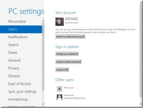 Windows 8 PC settings 1