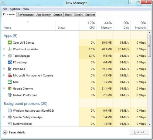 Windows 8 task manager 1