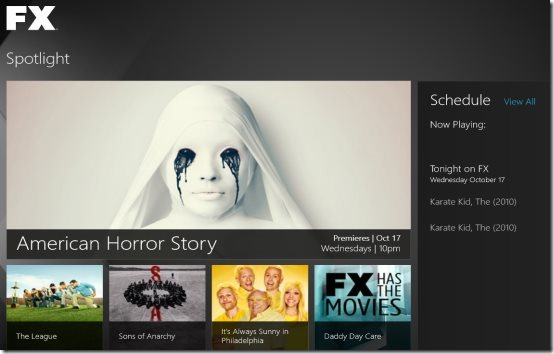 FX Networks Windows 8 app