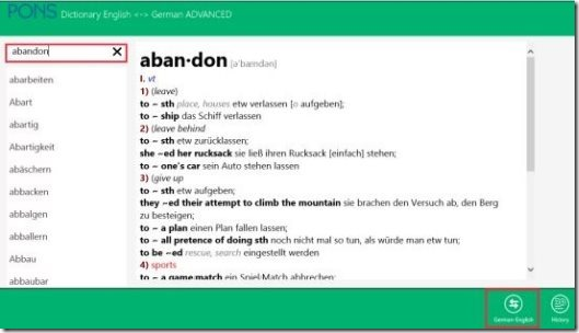 Windows 8 Dictionary app