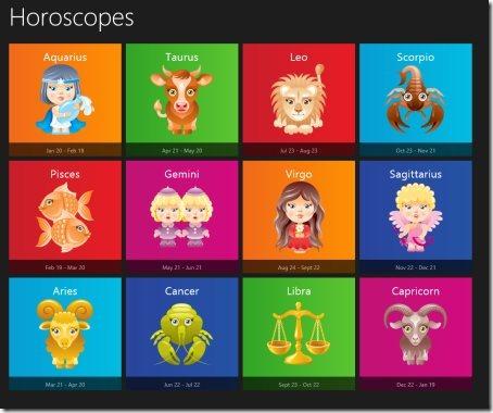 Windows 8 Horoscope app